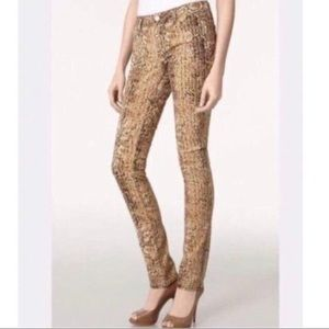 Tory Burch Super Skinny Python Brown Gold Jeans